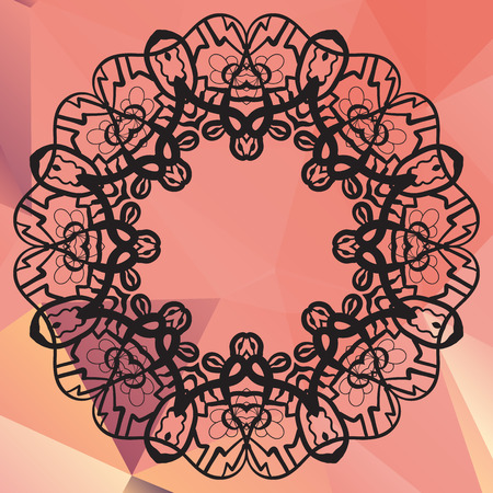 karma design: Stylized mandala. Geometric circle element made in vector. Perfect  cards for any other kind of design, birthday and other holiday, kaleidoscope,  medallion, karma, yoga, indian, arabic lace over pink triangles background