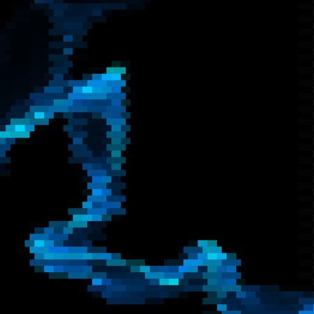 bended: Bended blue line made of blue bricks