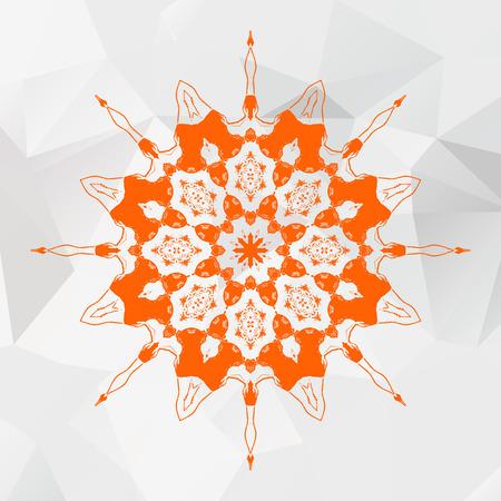 灰色の三角形メッシュの背景にオレンジ色のマンダラ。