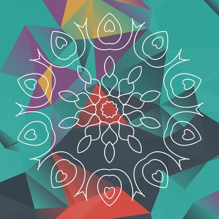 what is karma: Mandala like design over triangles background. What is karma. Chakra design.