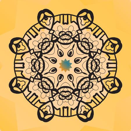 karma design: Stylized round lace design. Indian mandala arabic motif. Chakra karma yantra look