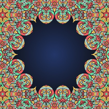wor: Mandala frame for text in oriental style.  Template wor invitation or bucklet cover