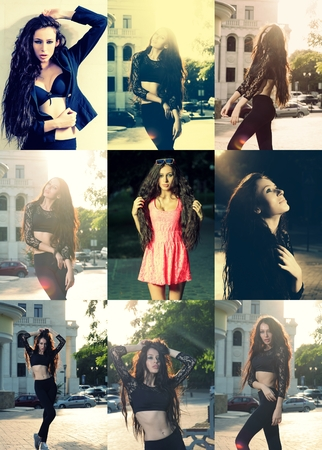 long haired: Set of long haired women images posing outdoors Stock Photo