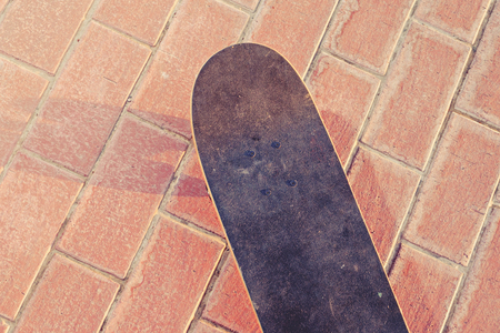 skateboard: Skateboarding concept. Skate board from above view. A lot of space for text. Toned image instagram filter