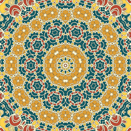 persia: Seamless Oriental Background for greeting card, Brochure, Card or Invitation with Islamic, Arabic, Indian, Ottoman, Asian motifs. Abstract Retro Stylized flowers wallpaper Endless.