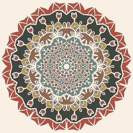yantra: Stylized mandala motif round lase pattern background, like snowflake or mehndi paint on light brown background. Yoga symbol. Yantra for meditation.