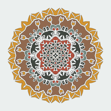 delicate arabic motif: Stylized Mandala Art. Vector ornamental round lace with damask and arabesque elements. Mehndi style. Orient traditional ornament. Indian, Arabian, Islamic style motif.