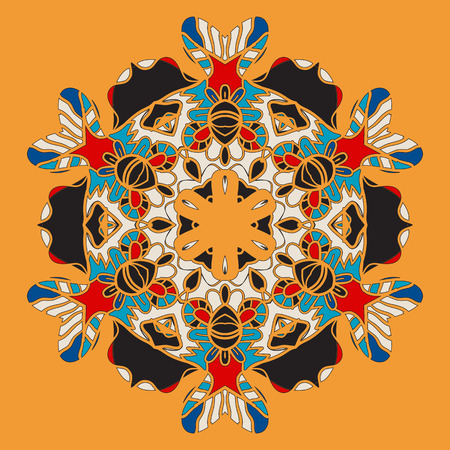 colores calidos: orientales de la postal con la flor estilizada de Mandla colores c�lidos.