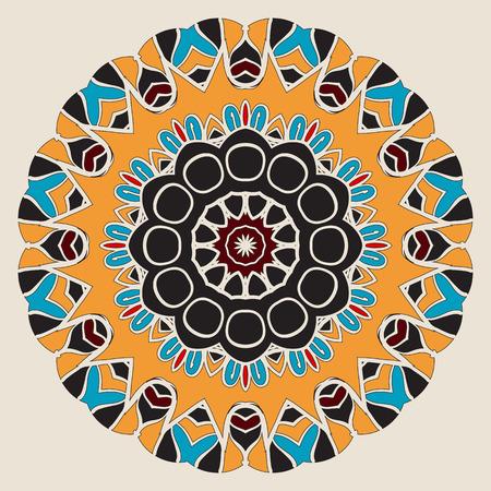 lace like: Oriental mandala motif round lace pattern background, like snowflake or mehndi paint on light yellow background. Colorful symmetry artwork.