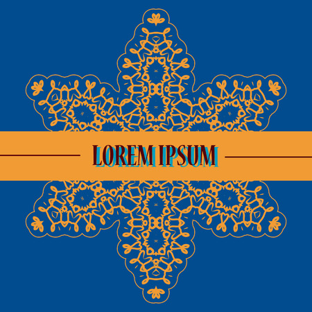 karma graphics: Stylized Oriental Print in blue and Yellow color. Retro Ornate Mandala Wallpaper for greeting card, Brochure, Card or Invitation with Islamic, Arabic, Indian, Ottoman, Asian motifs.