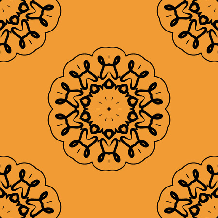 laced: Seamless Oient Inspired Textile Print. Retro Ornate Mandala based design  for greeting card, Brochure, Card or Invitation with Islamic, Arabic, Indian, Ottoman, Asian motifs. Illustration