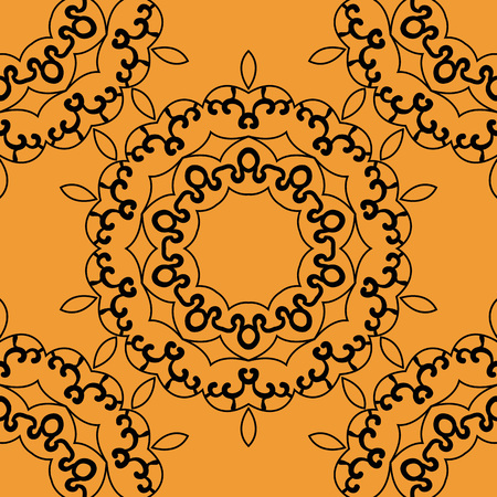 indian fabric: Seamless mandala in outlines on orange background.  Retro Ornate Mandala based design  for greeting card, Brochure, Card or Invitation with Islamic, Arabic, Indian, Ottoman, Asian motifs.