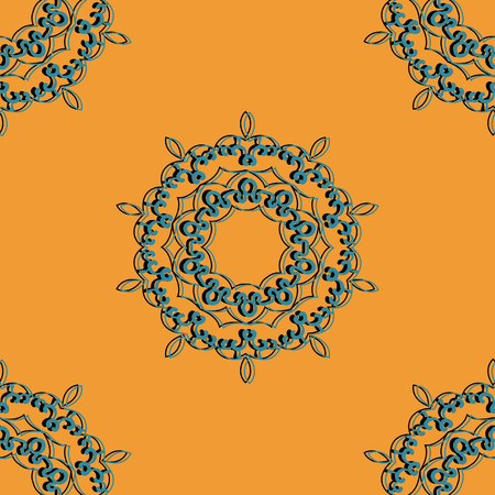 ornamental pattern: Azure and black seamless mandala Print. Retro Ornate Mandala based design  for greeting card, Brochure, Card or Invitation with Islamic, Arabic, Indian, Ottoman, Asian motifs.