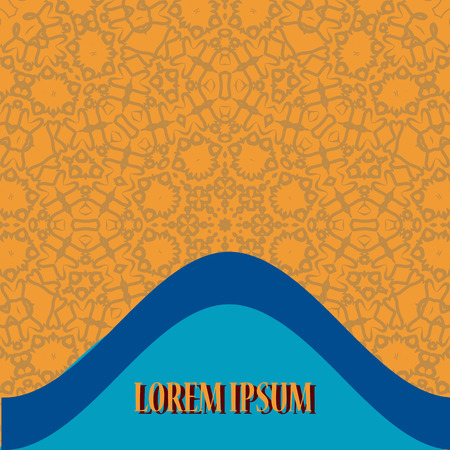 bended: Flyer Cover Design with two bended blue lines with copyspace and mandala-like ornament as background.  Retro Ornate Mandala based design  for greeting card, Brochure, Card or Invitation with Islamic, Arabic, Indian, Ottoman, Asian motifs.
