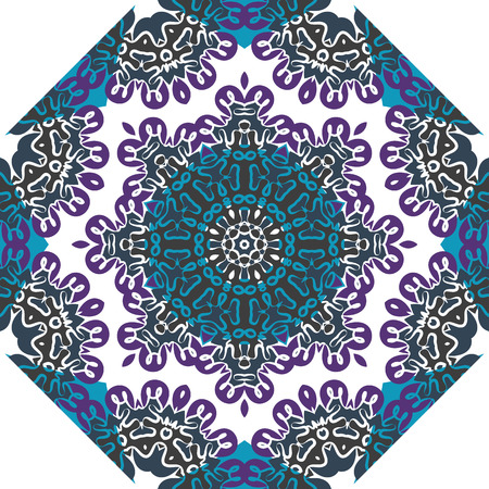 karma design: Oriental symmetrical round pattern. Indian art imitation. Illustration