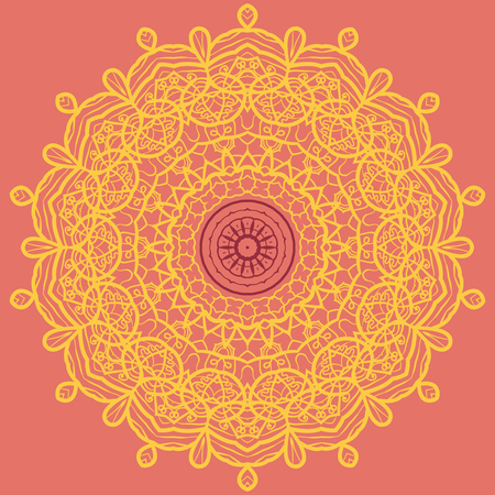 60th: Mandala Print in Orange and Yellow Color, visual illusion, Yantra for meditation, 60th style textile art