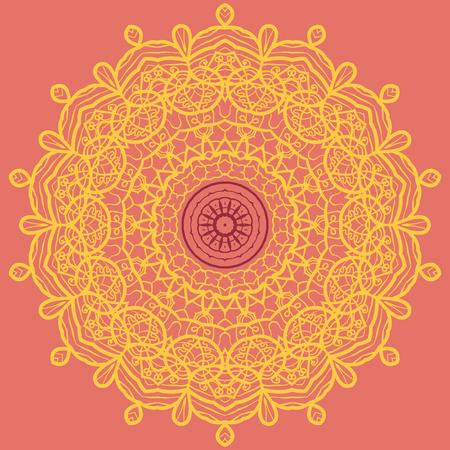 yantra: Mandala Print in Orange and Yellow Color, visual illusion, Yantra for meditation, 60th style textile art