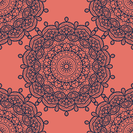 scrollwork: Seamless Mandala Print in Orange and Blue color.