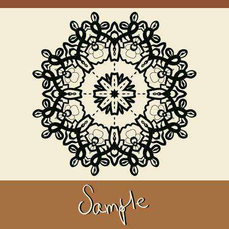 lace like: Invitation cover with mandala like oriental outlined lace