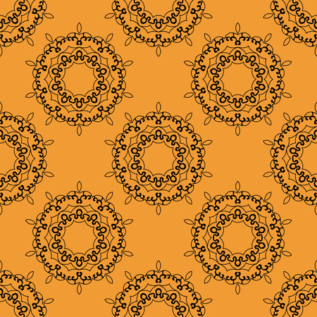 inspired: Oriental ornaments seamless tile henna art inspired design. Retro Ornate Mandala based design  for greeting card, Brochure, Card or Invitation with Islamic, Arabic, Indian, Ottoman, Asian motifs.
