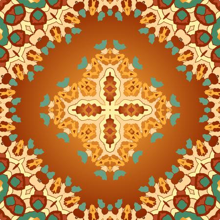 karma design: Brown and orange color seamles arabian print. Seamless vector ornate background. Beautiful pattern of mandalas. Template. Illustration