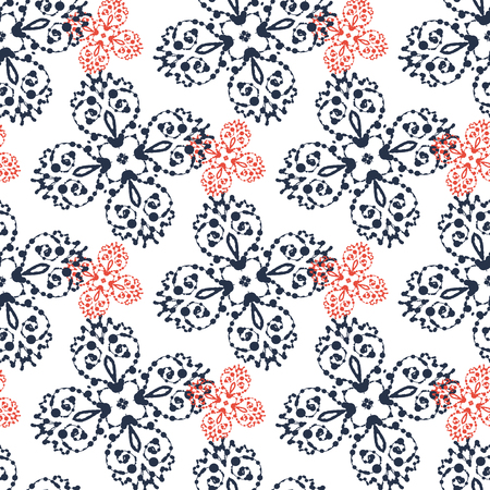blobs: Print Seamless. Red and Gray abstract Symmetry blobs Shapes. Illustration