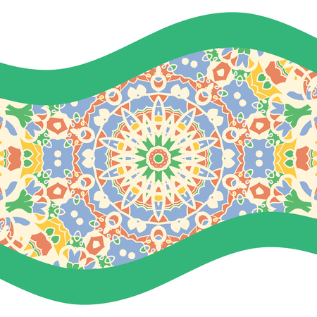 bended: Green and teal mandala art print with bended lines
