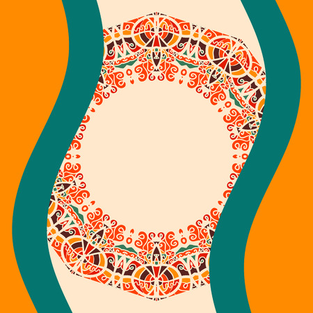 bended: Round frame for text with two bended lines in Warm Color, Indian Mandala artwork. Cover background. Postcard Vintage decorative elements. Hand drawn background. Islam, Arabic, Indian, ottoman motifs. Illustration