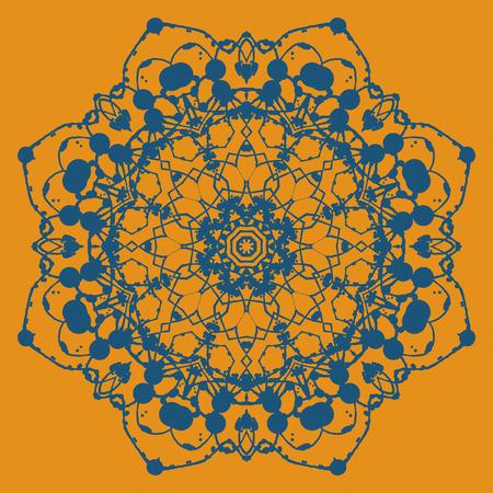 asian and indian ethnicities: Hand drawn ethnic circular beige ornament. Mandala like art work.