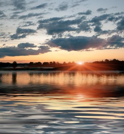 volga river: sunset on the Volga river in Central Russia