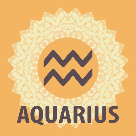 bearer: Aquarius. The Water Bearer. Zodiac icon with mandala print. Vector icon.