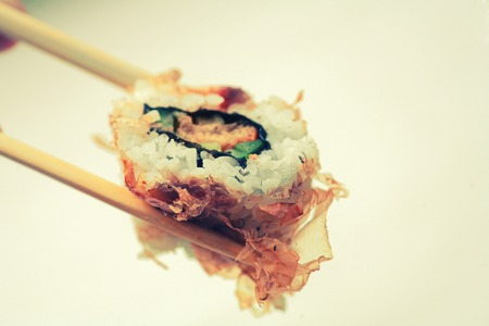 dryed: Sushi covered with dryed tuna with copy space