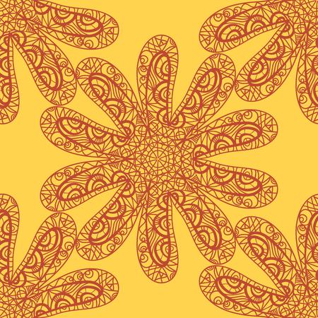 seastar: Seamless sea star doodle orange on yellow Illustration