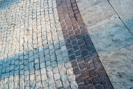 bended: Diagonal paved footpath a lot of space for text. Bended pavement. Stock Photo