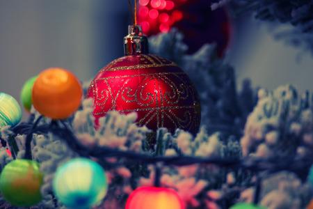 colorized: Xmas decorations on tree toned image colorized shot