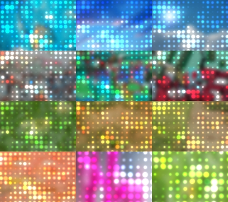 focus on background: blurred spots and colorful dots out of focus background Stock Photo