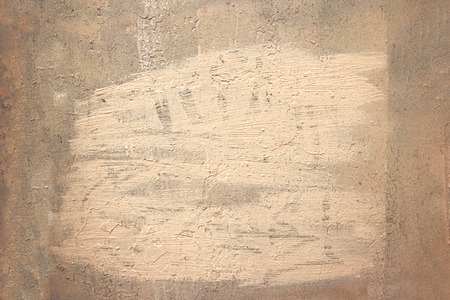 colorized: Old grungy painted wall background weathered frame painted orange with a grain texture. Toned image. Colorized shot. Stock Photo