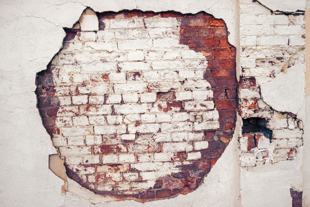 colorized: Old wall with big gap can be used as frame for design, toned image, colorized shot Stock Photo