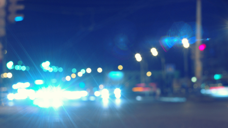 colorized: Night lights of the Big City in Blue color toned colorized defocused background Stock Photo
