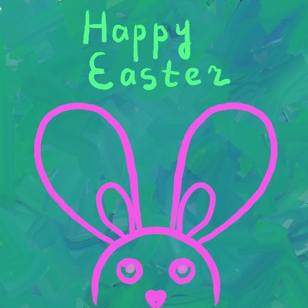 naive: Simply Easter  Bunny on painted in green background, naive art sample, child drawing Stock Photo