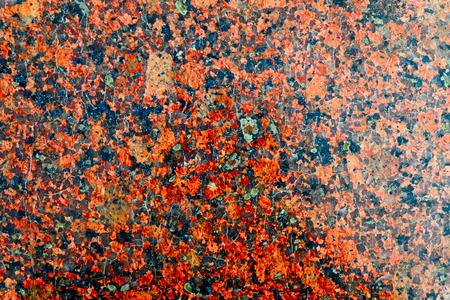 nodular: High Polished Red Granite Texture. Red Base with Black and Gray Spots. Close up of a polished red marbled granite texture.