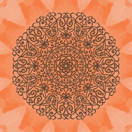 dainty: Elegant mandala-like pattern on red seamless texture. Hand-drawn mandala flower. Ornamental round seamless lace pattern. Abstract tribal ethnic yoga yantra background seamless pattern. Illustration