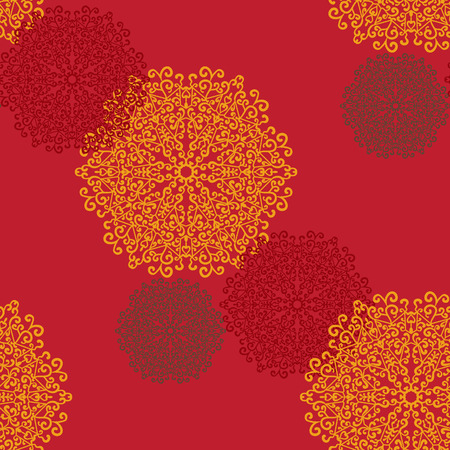 Seamless Print Mandalas. Vintage decorative element on seamless texture. Hand drawn background. Islamic, Arabic, Indian, Asian, Ottoman motifs.