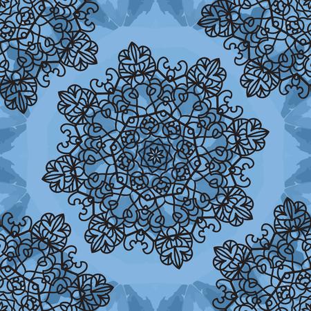 Seamless Print Mandala background. Vintage decorative element on endless texture. Hand drawn background. Islamic, Arabic, Indian, Asian, Ottoman motifs. Open-work symmetry pattern.
