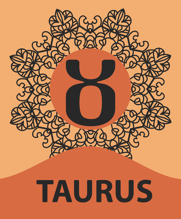 persistence: Taurus Bull zodiac astrology icon for horoscope vector illustration on ornamental round lace pattern. Abstract vector tribal ethnic yoga yantra background.