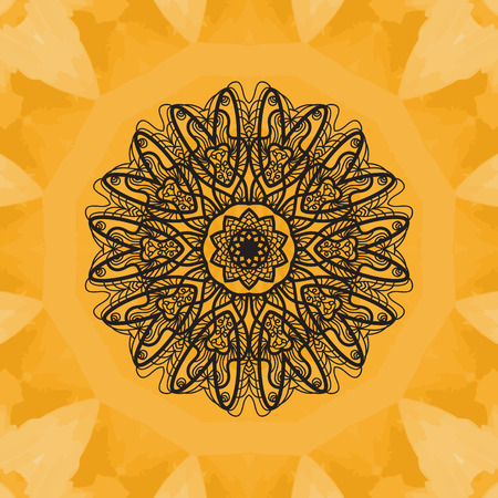 yantra: Elegant mandala-like pattern on yellow seamless watercolor texture. Hand-drawn mandala flower. Ornamental round seamless lace pattern. Abstract vector tribal ethnic yoga yantra background seamless motif. Illustration