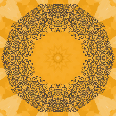 yantra: Elegant mandala-like frame on seamless texture. Hand-drawn mandala flower with inner copyspace. Ornamental round seamless lace pattern. Abstract vector tribal ethnic yoga yantra background seamless pattern.