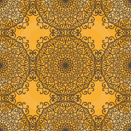 Ornamental seamless pattern on yellow texture. Endless vector template can be used for wallpaper, pattern fills, textile, fabric, wrapping paper, surface textures. Ottoman-like style design.