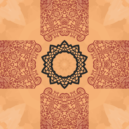 newage: Seamless mandala card. Geometric circle element in vector. Perfect cover or any other kind of design, birthday and other holiday postcard, kaleidoscope medallion, yoga yantra, indian motifs.