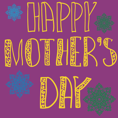deep pink: Handlettering Background With Hand Drawn Lace For Mother s Day in violet deep pink color. Oriental mandala flowers on background.